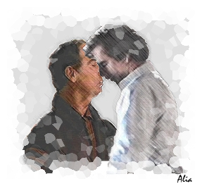 The Kiss. This pic appears at the end of part three of the fic The Kiss. The fic is available on my Quantum Leap page.